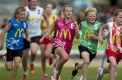 Action from the Little Athletics 400 metres on day two.