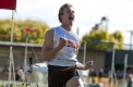 A pumped Matthew Wiltshire from Ballarat after crossing the line to win the 2012 Australia Post Stawell Gift.