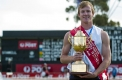Ballarat's Matthew Wiltshire with his trophy on Central Park.