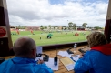Stawell Gift commentators Cartha McKerow and Mitchel Brown have a great view of the action from the main grandstand.