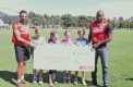 Asafa Powell and Josh Ross with Little Athletics Victoria kids