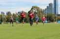 Little Athletics Victoria kids enjoy a run with Powell and Ross